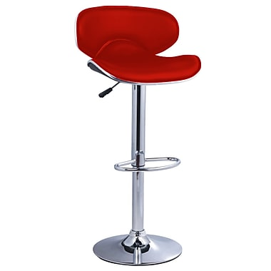 Pangea Home Phil 24'' Adjustable Bar Stool  (Set of 2); Red