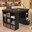 Venture Horizon Project Center with Bookcase and 3 Bin Cabinet; Dark Walnut