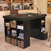 Venture Horizon Project Center Writing Desk with Bookcase and 3 Bin Cabinet; Dark Walnut