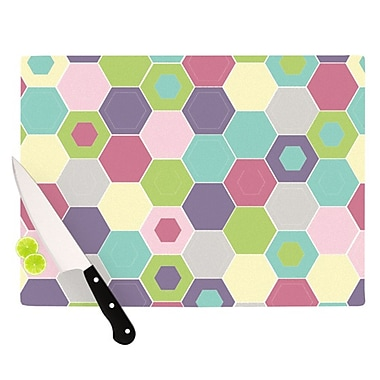 KESS InHouse Pale Bee Hex Cutting Board; 11.5'' H x 15.75'' W