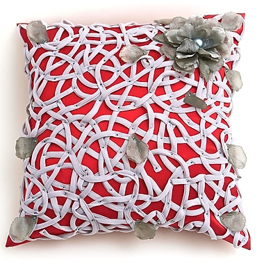 Debage Inc. Veranda Tangled Flower Throw Pillow; Red