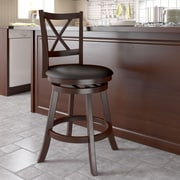 dCOR design Woodgrove Cross Back 24'' Swivel Bar Stool with Cushion