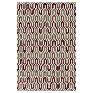 Jill Rosenwald Rugs Fallon Hand-Woven Gray/Maroon Area Rug; 8' x 11'