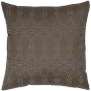 India's Heritage Print Entangle Silk Throw Pillow; Walnut