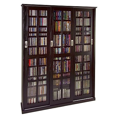 Leslie Dame Sliding Glass 3 Door Multimedia Cabinet; Black