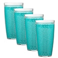 Kraftware Fishnet 24 Oz. Double Wall Insulated Tumbler (Set of 4); New Teal
