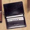 Winn International High Polished Cowhide Aniline Leather Two Fold Business Card Case; Black