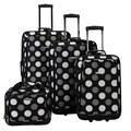 Rockland 4 Piece Luggage Set; Big Black Dots