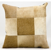 Nourison Natural Leather and Hide Throw Pillow; Beige