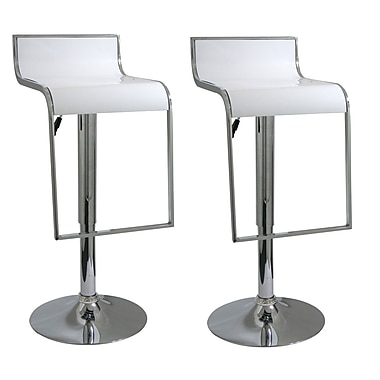 Buffalo Tools AmeriHome 21.5'' Adjustable Swivel Bar Stool (Set of 2); White