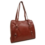 Piel Women's Vertical Belted Business Tote; Chocolate