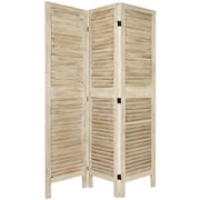 Oriental Furniture 67'' Tall Classic Venetian 3 Panel Room Divider; White