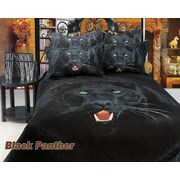 Dolce Mela Black Panther Egyptian Cotton 6 Piece Duvet Cover Set; King