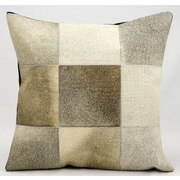 Nourison Natural Leather and Hide Throw Pillow; Grey