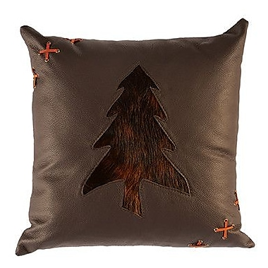 Wooded River Leather Throw Pillow; Hide