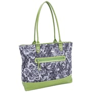 Parinda Allie Quilted Fabric with Croco Faux Leather Tote Bag; Grey Floral Green