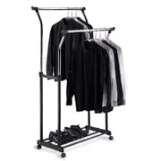 OIA Double Adjustable Garment Rack in Black & Chrome
