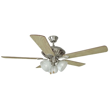 Design House 52'' Trevie 5 Blade Ceiling Fan; Satin Nickel with Redwood/Light Maple Blade