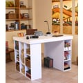 Venture Horizon Project Center with Bookcase and 3 Bin Cabinet; White