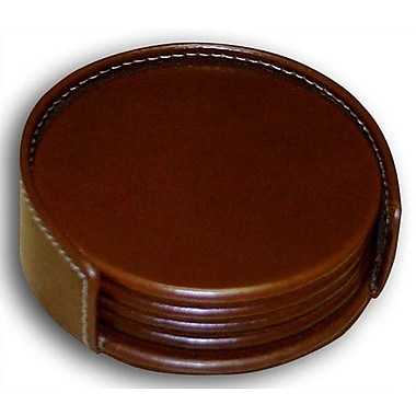 Dacasso 3200 Series Leather Four Round Coasters w/ Holder and Inner Lining in Rustic Brown