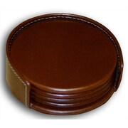 Dacasso 3200 Series Leather Four Round Coasters with Holder and Inner Lining in Rustic Brown