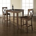 Crosley 3 Piece Pub Table Set; Vintage Mahogany