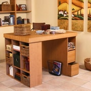 Venture Horizon Project Center Writing Desk with Bookcase and 3 Bin Cabinet; Oak