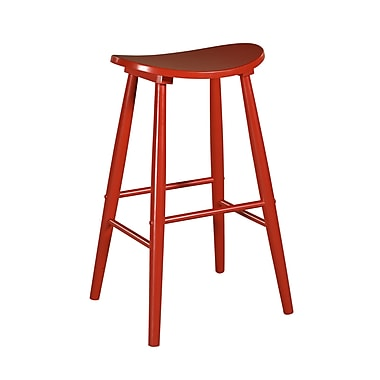 Linon Curve 24'' Bar Stool; Red
