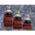 Artland 3 Piece Rooster Canister Set; Ruby