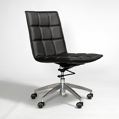 Matrix Gates Mid-Back Leather Office Chair with Swivel; Black
