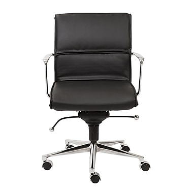 Eurostyle Leif Low-Back Leatherette Office Chair with Arms; Black
