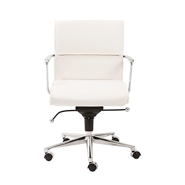 Eurostyle Leif Low-Back Leatherette Office Chair with Arms; White