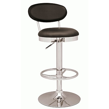 Chintaly 25'' Adjustable Swivel Bar Stool with Cushion; Black