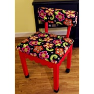 Arrow Sewing Cabinets Sewing Chair with Underseat Storage; Red