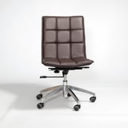 Matrix Gates Mid-Back Leather Office Chair with Swivel; Dark Brown