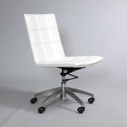 Matrix Gates Mid-Back Leather Office Chair with Swivel; White