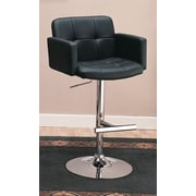 Wildon Home   Colorado City Adjustable Height Swivel Bar Stool with Cushion; Black