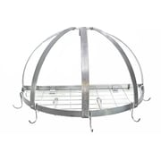 Rogar Gourmet Half Dome Wall Mounted Pot Rack with Grid; Hammered Steel/Chrome