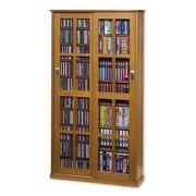 Leslie Dame Glass Door Multimedia Cabinet; Natural Oak