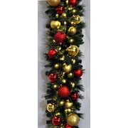 Queens of Christmas Blended Pine Decorated Garland; Red and Gold