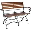 Furniture Designhouse African Teak Folding 2-Seat Bench with Arms; African Teak