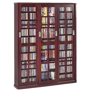 Leslie Dame Sliding Glass Door Multimedia Cabinet; Dark Cherry