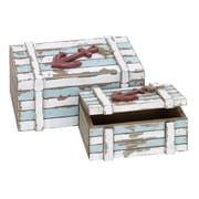 Woodland Imports Wood Box Nautical Maritime Decor Set/2 (Set of 2)