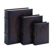 Woodland Imports Floral Smooth Leather Book Box (Set of 3)