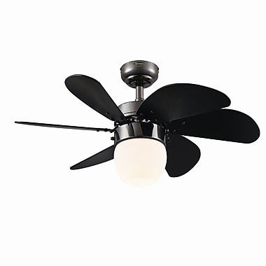 Westinghouse Lighting 30'' Turbo Swirl 6 Blade Ceiling Fan; Gun Metal with Black Blades