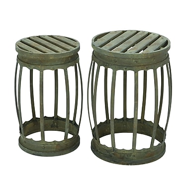 Woodland Imports 2 Piece Barrel Barstool Set