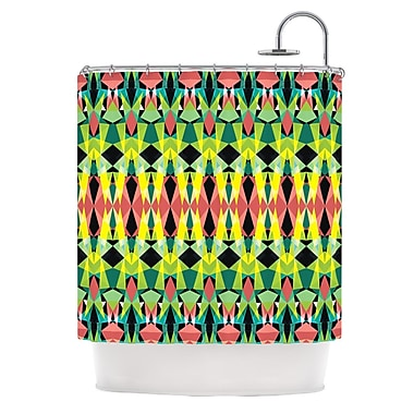 KESS InHouse Triangle Visions Shower Curtain; Green/Yellow