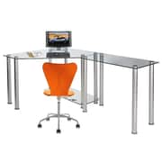 RTA Home And Office CT Computer/Laptop Desk Corner Computer Desk with Right Extension Table; Clear