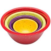 Zak! Confetti 4 Piece Nesting Bowl Set; Assorted Red