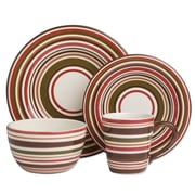 TAG Sonoma 16 Piece Dinnerware Set; Chocolate Stripe